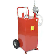 PRO 30 Gallon Gas Fuel Diesel Caddy Transfer Tank Container w/ Rotary Pump Tool