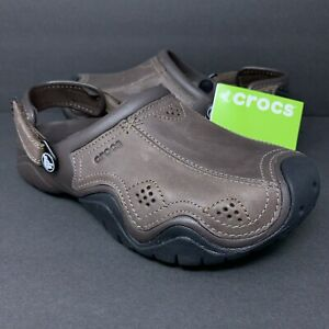 Crocs Mens Swiftwater Slingback Leather Clogs Espresso Brown Shoes Sandals 7 US