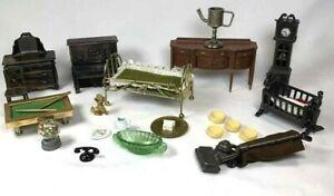 VINTAGE MINIATURES Metal Dresser Clock Piano Baby Bed Gum Ball Accessories