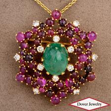 Ivan & Co. Diamond 19.05ct Ruby Emerald 18K Gold Cluster Pin Pendant 23.4Grms N