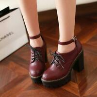NC Women Punk Lace up Buckle Knight Mid Chunky Heel Pumps PU Leather Boots Shoes