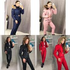 Winter Womens Ski Suits Long Down Warm Cute Skiing One Piece Overall Snowsuits