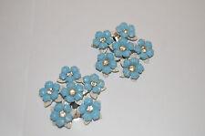 Earrings Designer Fun Retro Rhinestones? Vintage Blue Plastic Sparkle Clip