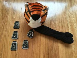 Tiger Wood Driver Hybrid Golf Club Head Soft Cover Animal Shape with 5 Badges