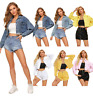US Women's Distressed Denim Cropped Button Coat Jean Jacket Long Sleeve Casual