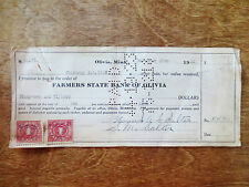 1920s Farmers State Bank of Olivia Cancelled Check Document Stamped MN