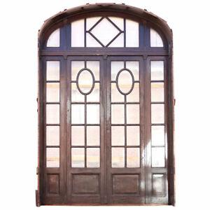 Antique Argentine Beaux Arts Cedro & Beveled Glass Double Door Entry c. 1910