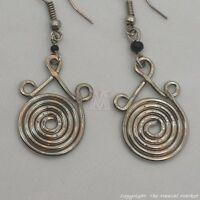Maasai Market Africa Kenya Jewelry Silver Wire Masai Bead Spiral Earring 615-25A