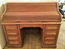 Antique Quarter Sawn White Oak Roll Top Desk