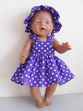 "BABY BORN 17""  DOLLS CLOTHES PURPLE  SUMMER OUTFIT WITH WHITE DOTS"