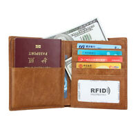 Men Women Leather RFID Blocking ID Travel Wallet Credit Card Passport Holder