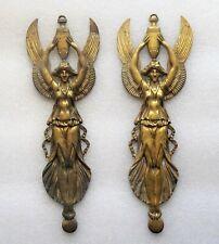 paire de cariatide en bronze doré d'époque empire - femme ailée