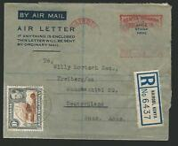 KUT - Kenya 1953 air letter registered to Freiberg, Russian Zone, Germany