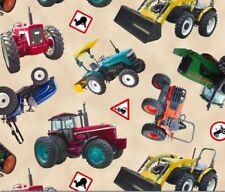 Farm Fabric - In Motion Tractor Toss on Cream - Elizabeth's Studio YARD