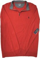 NEW $89 Polo Ralph Lauren Long Sleeve Red 1/4 Zip Pullover Sweater Mens NWT