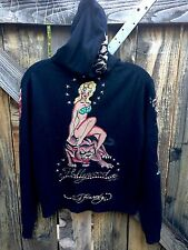 "ED HARDY Cashmere Sweater ""Hollywood"" Pin Up Girls Hoodie Size XL RARE! 🍒☠️🎲"