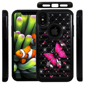 For iPhone X Hybrid Dual Layer Hard & Soft Diamond Bling Case Cover Butterfly