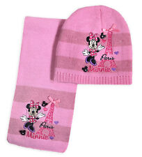 Girls Minnie Mouse Hat and Scarf Kids Disney Winter Sets Ages 3 - 12 Years Pink 52cm 3-6 Years