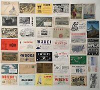 QSL Ham Radio Cards 1940s to 1980s USA + International (PostCards) Lot of 40