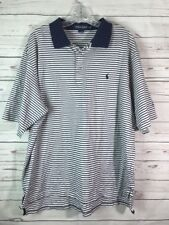 Polo by Ralph Lauren Golf Rugby Blue White Stripe S/S Shirt Mens XL Embroidered