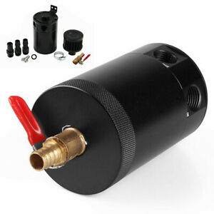 2-Port Car Oil Catch Can Tank Reservoir Aluminum with Breather Filter Universal