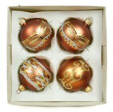 Handpainted Ball Vintage Handblown Eastern Europe Glass Christmas Ornament Set