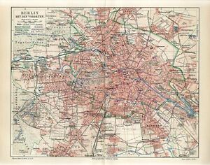 1895 GERMANY BERLIN CITY PLAN and SUBURB Antique Map