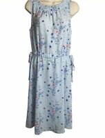 Juicy Couture Cinched Sleeveless Dress Womens Size Large Blue Floral Midi E99