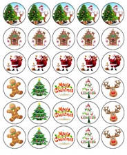 30 CHRISTMAS Edible Cupcake Toppers Wafer Paper Xmas Party Cake Decorations #1