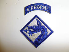 b0927 WW2 US Army Airborne 18th XVIII Airborne Corps Patch and Tab R3C