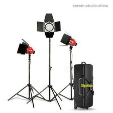 Kit 3* 800w Red Head Light + 4* Bulb + 3* Stand + 1*Flycase soft video lighting