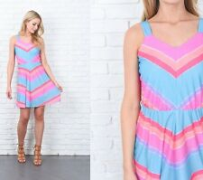 Vintage 80s Striped Dress Chevron Teal Pink Rainbow Mini Retro XS