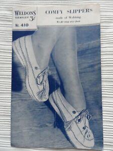 Original 1940's Pattern Comfy Slippers Webbing Weldons 410