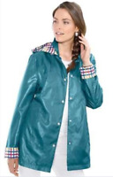 Lightweight Glossy Jade Hooded Rain Jacket with Pockets & Contrast trim size 16