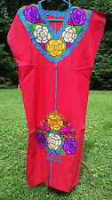 Maya Mexican Dress Embroidered Flowers Chiapas Puebla Red Rainbow Large XL #FZ