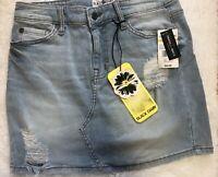 Black Daisy Macys Womens Jean Skirt 3/26 Lt. Blue Distressed Denim Juniors  NWT!