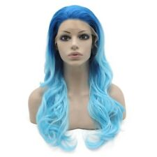 Long Wavy Two Tone Blue Heat Safe Fiber Lace Front Ombre Party Wig