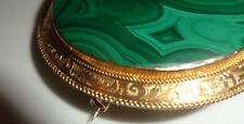 ANTIQUE VICTORIAN MALACHITE BROOCH 9 CARAT GOLD FRAME
