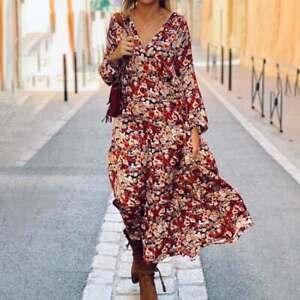 Robe Maxi Vintage à manches longues pour femmes, imprimé Floral T 42-44