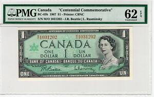 BANK OF CANADA - One Dollar 1967 Centennial - PMG 62 EPQ Uncirculated - BC-45b
