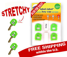 KEY CAP & TAG - STRETCHY - 4 pack GREEN + Blank and Printed Labels