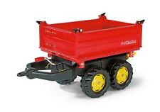 New Rolly Toys Pedal Tractor Red Mega Trailer 3-Way Large Tipping Trailer