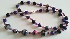 """GOODLUXE Handmade Purples Agate Necklace 32"""" Sterling Silver Clasp"""