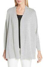 Eileen Fisher Silk Cotton Knit Bracelet Sleeve Cardigan Bone Black Sz M NWT