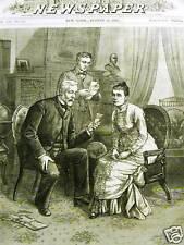 MRS. GARFIELD ASSASSINATION BLAINE 1881 Print Matted