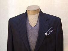 Chaps Mens 100% Wool Sport Coat Jacket Blazer Suit Navy Blue Pinstripe 40S $220