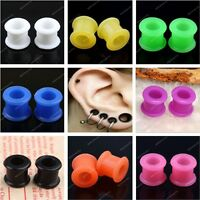 Pair 3-12MM Double Flare Flexible Silicone Ear Tunnels Plugs Earlets Gauges-NJ