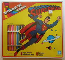 SUPERMAN WATERCOLOR PEN By NUMBERS SET SEALED Hasbro 1977 MIB