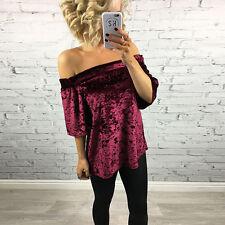 Womens Off Shoulder Velvet Shirt Top Casual Short Sleeve T-Shirt Blouse Pullover