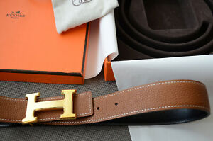 Geniune 32MM Hermes Reversible Belt kit BROWN / BLACK GOLD BRUSHED Buckle sz 85